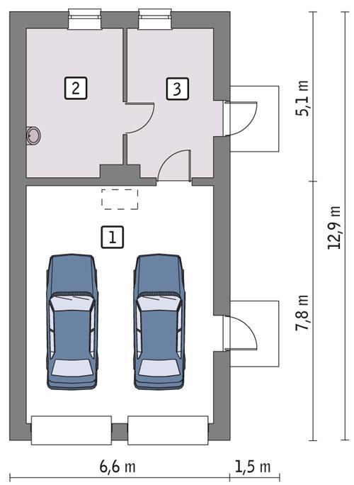 Rzut parteru POW. 66,1 m²