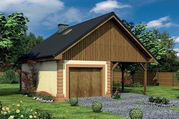 Garaż z pomieszczeniem gospodarczym, schowkiem i wiatą garażową