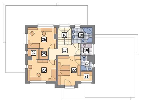Rzut piętra: wariant rzutu POW. 79,1 m²