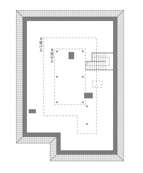 Rzut poddasza: Do indywidualnej adaptacji (44,3 m2 powierzchni użytkowej)