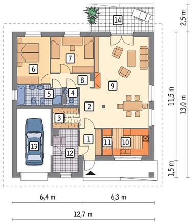 RZUT PARTERU POW. 98,6 m²