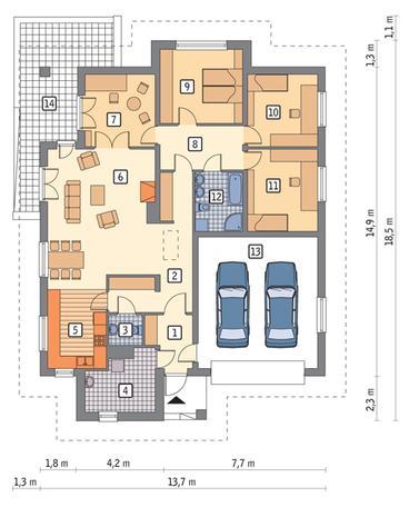 RZUT PARTERU POW. 128,9 m²
