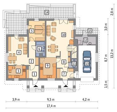RZUT PARTERU: wersja podstawowa POW. 110,2 m²